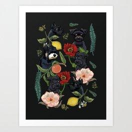Botanical and Black Schnauzer Art Print