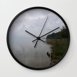 Moody Morning At The Lake Wall Clock