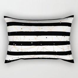 Vintage Black and White Stripes Gold Geometric Pattern Rectangular Pillow
