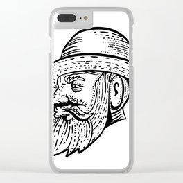 Hipster Wearing Bowler Hat Etching Black and White Clear iPhone Case