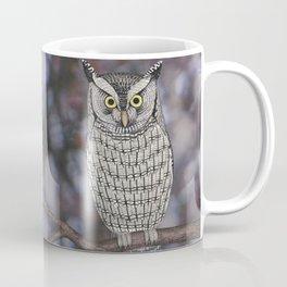 eastern screech owl on a branch Coffee Mug