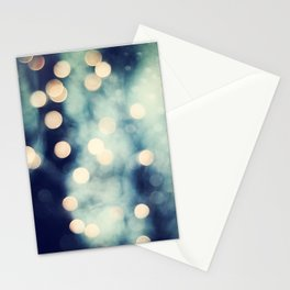 Bokeh Lights Sparkle Photography, Navy Gold Sparkly Abstract Photograph Stationery Cards