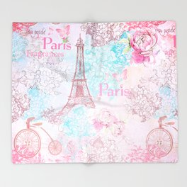 I love Paris - Vintage  Shabby Chic in pink - Eiffeltower France Flowers Floral Throw Blanket