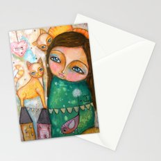Make a Wish! girl and Kittens Stationery Cards
