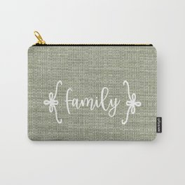 Family on Green Burlap Carry-All Pouch