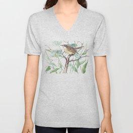 Carolina Warbler in the Field, sofgt brown sage green colors Unisex V-Neck