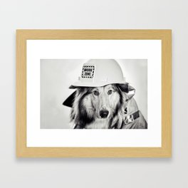 The Fire Man - Collie Dog Framed Art Print
