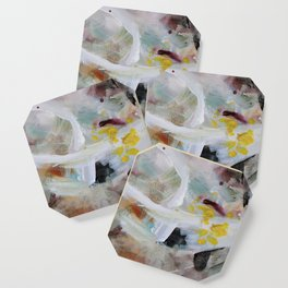 My Baby White Yellow Purple Abstract Painting Art Canvas Print Coaster