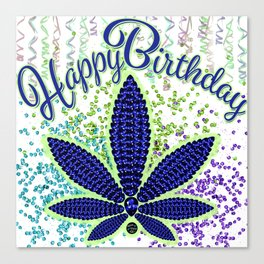 Happy Birthday, Birthstoned Tanzanite Canvas Print