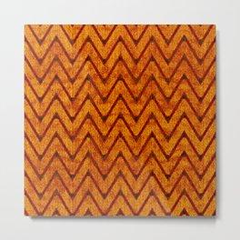 Vivid Pumpkin Orange Chevron Pattern Metal Print