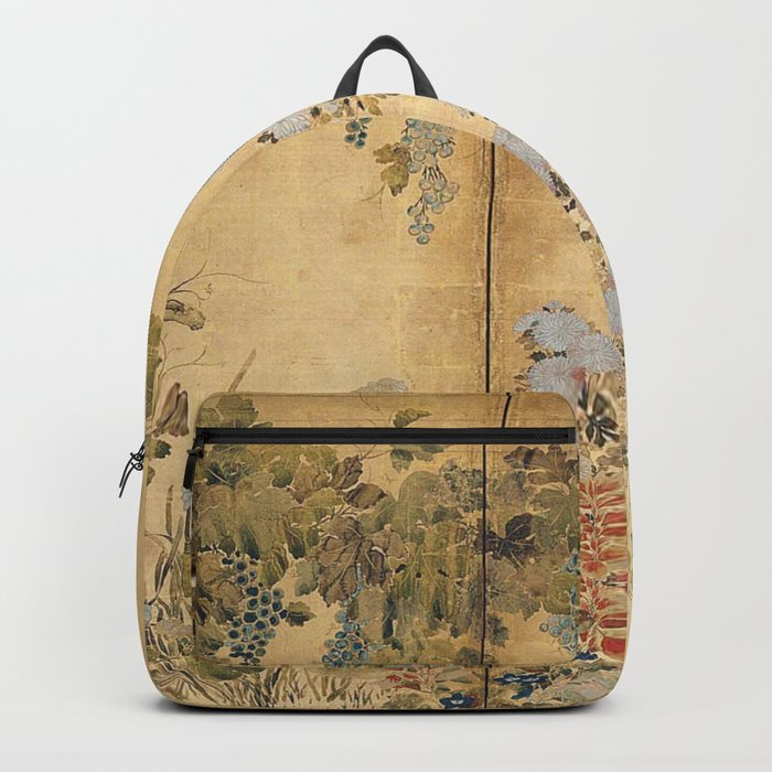 Japanese Edo Period Six-Panel Gold Leaf Screen - Spring and Autumn Flowers Rucksack