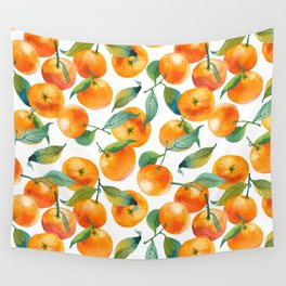 Mandarins With Leaves Wall Tapestry