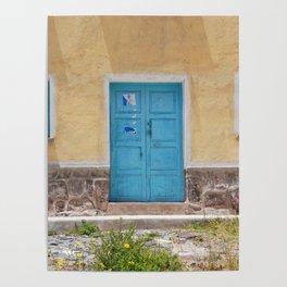 Bolivia door 7 blue on yellow Poster