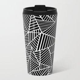 Ab Lines Black on White Metal Travel Mug