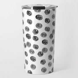 Hand painted black white watercolor brushstrokes polka dots Travel Mug