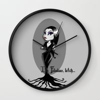 bitch Wall Clocks featuring I'm Fabulous...bitch by Lagoonartastic