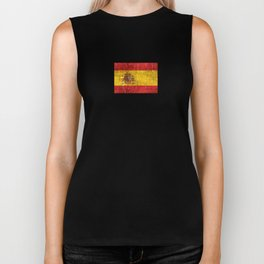 Vintage Aged and Scratched Spanish Flag Biker Tank