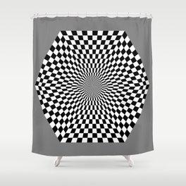 Checkered Hexagon Shower Curtain