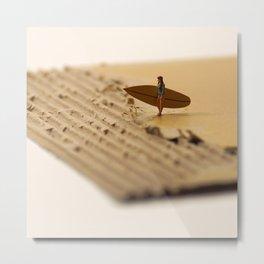 Miniature Surfer Girl Cardboard Metal Print