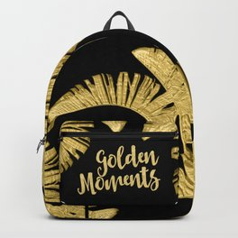 Golden Moments Glamorous Typography And Tropical Leaf Backpack