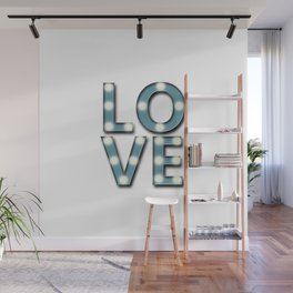 Love Lighted Marquee Sign Stacked Duck Egg Blue and White Wall Mural