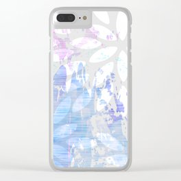Abstract Splash Flowers Design Clear iPhone Case