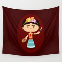 frida kahlo Wall Tapestries featuring Frida Kahlo by Sombras Blancas Art & Design
