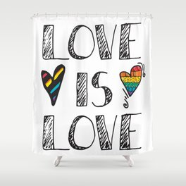Love Is Love Doodles LGBT Shower Curtain