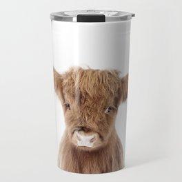 Baby Highland Cow Portrait Travel Mug