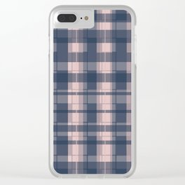 Dusty rose and Blue Modern Tartan Clear iPhone Case