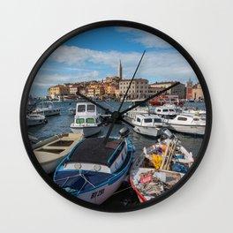 Boats on the Waterfront Rovinj Croatia Wall Clock