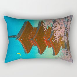 Vintage Japanese Woodblock Print Pastel Colors Blue pink Teal Shinto Shrine Cherry Blossom Tree Rectangular Pillow