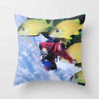 skiing Throw Pillows featuring Water Skiing by John Turck
