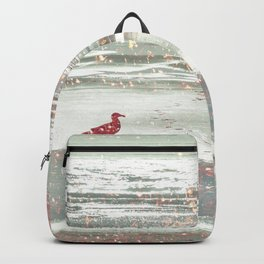 BIRDIE WALKING ON THE BEACH IN A GOLDEN PINK SUNSET Backpack