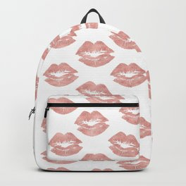 Abstract Scent of a Woman Rose Gold Lips Backpack