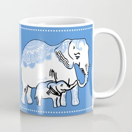 Ornate Elephants Blue and White Coffee Mug