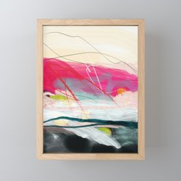 abstract landscape with pink sky over white cloud mountain Framed Mini Art Print