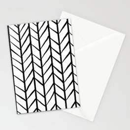 black and white modern hand drawn herringbone chevron pattern Stationery Cards