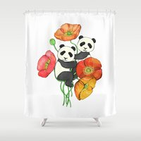 pandas Shower Curtains featuring Poppies & Pandas by micklyn