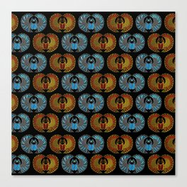 Egyptian Scarab Beetle Pattern - Gold  Blue  and red glass Canvas Print