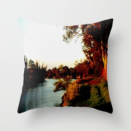 Sunsets on the river bank gum Trees Throw Pillow