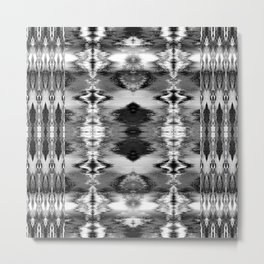 B&W Watercolor Ikat Metal Print