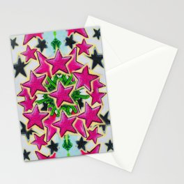 Abstract pink stars Stationery Cards