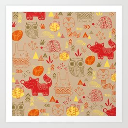 Tribal Animal Pattern Art Print