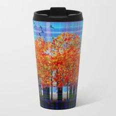 Fall Leaves On Plaid Metal Travel Mug
