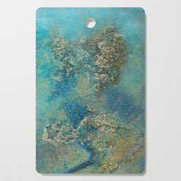 Blue And Gold Modern Abstract Art Painting Cutting Board