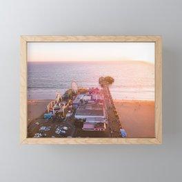 Santa Monica Pier Sunset Framed Mini Art Print