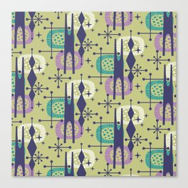 Retro Atomic Mid Century Pattern Blue Green Purple and Turquoise Canvas Print