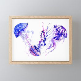 Jellyfish, sea world marine blue aquatic shower purple blue design Framed Mini Art Print
