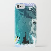 surfing iPhone & iPod Cases featuring Surfing by Robin Curtiss